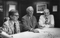 1974 was a year of concerted planning and management restructuring for President C.S. Harding Mott (center), Vice President-Secretary William S. White (right) and Vice President-Program Administration Homer E. Dowdy (left).