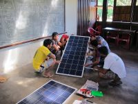As part of the solar power project, 100 men in the Xingu learned how to install and maintain solar panels.