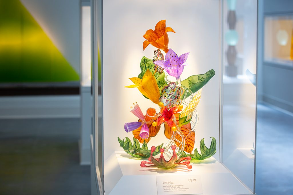"""Inventing Flowers"" (2005) by American artist Ginny Ruffner is among the many examples from the Sherwin and Shirley Glass Collection of Contemporary Glass on display in the new wing. The collection is on permanent loan to the FIA from the Isabel Foundation."