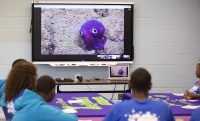 "Participants in the YouthQuest afterschool program at Flint's Southwestern Classical Academy see photos of a ""googly-eyed"" stubby squid that was photographed by scientists on the Exploration Vessel Nautilus."