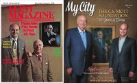 Bill White and Harding Mott on the cover of a 1978 issue of Flint Magazine and Bill and Ridgway White on the cover of a 2016 issue of My City Magazine.