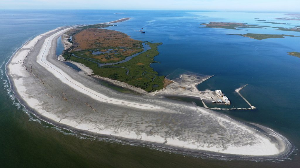 Aerial image of the Calliou Lake Headlands and Whiskey Island Restoration east end in Louisiana.