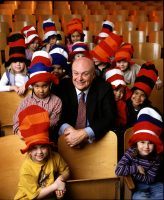 With students at Eisenhower Elementary School in Flint, Michigan — 2002.