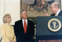 With President and Mrs. Clinton — 1998.