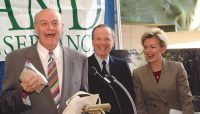 With CMS Energy Chairman Ken Whipple and Michigan Governor Jennifer Granholm, announcing plans to create Arcadia Dunes: The C.S. Mott Nature Preserve — 2003.