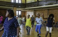 Line dancing class at the Berston Filed House on Flint's north side.