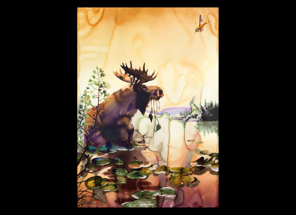"""""""Upper Peninsula"""" depicts a moose in Michigan's famed UP. The reintroduction of moose in the 1980s, a century after hunting and other human activities eliminated the species from Michigan, is one of the state's greatest wildlife management success stories."""