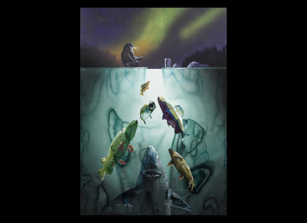 """""""Ice Fishing"""" depicts winter conditions on the Great Lakes, when anglers take to ice covered bays, and the northern lights often paint the night sky."""