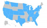 A map of the united states with the outline of states drawn with white lines. Thirty states are shaded in blue to represent where the America's Promise Alliance has awarded over 100 Power of Youth challenge grants.
